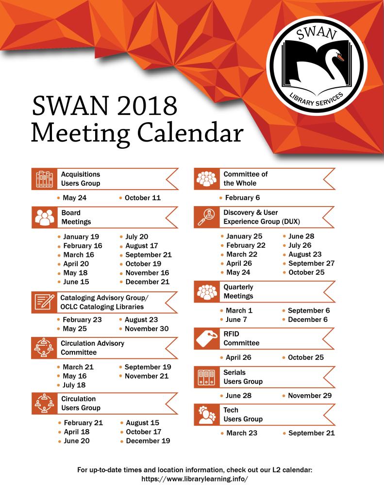 2018 Meeting Calendar